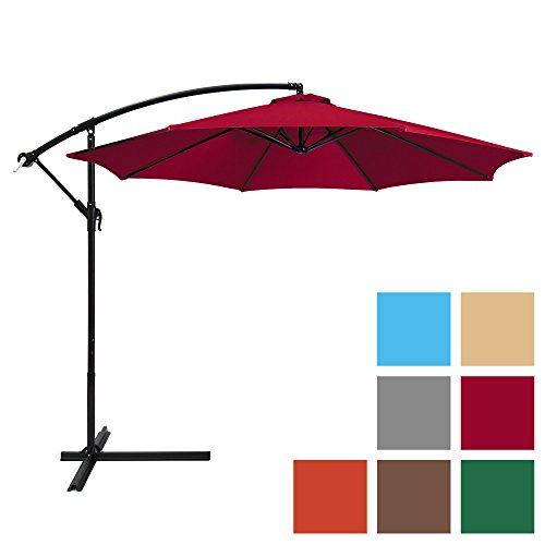 Best Choice Products 10ft Offset Hanging Outdoor Market Patio Umbrella- Burgundy For Sale