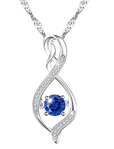 ❤️Christmas Jewelry Gift❤️Blue Sapphire or Green Emerald Necklace Love Infinity or Heart Jewelry Sterling Silver Swarovski Gifts for Women