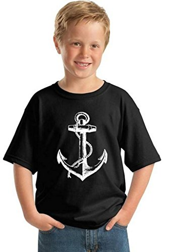 Awkwardstyles Youth Anchor White T-Shirt Gift for Kids Sea Marine Pirate Shirt M Black