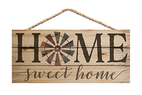 Home Sweet Home Vintage Windmill 10 x 4.5 Inch Pine Wood Decorative Hanging Sign by P Graham Dunn