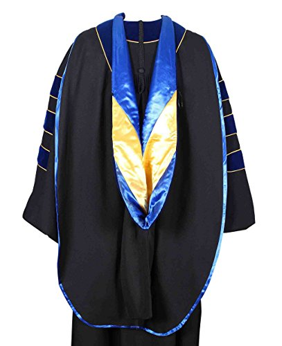 GraduationForYou PHD Hood VelvetTrim Satin Lining And Chevron +Gold Piping,Royal Bluegold,One Size (D Gown Ph Graduation)