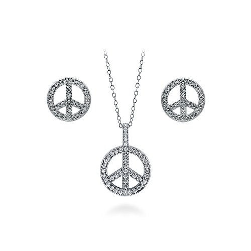 (BERRICLE Rhodium Plated Sterling Silver Cubic Zirconia CZ Peace Sign Fashion Necklace and Earrings Set)