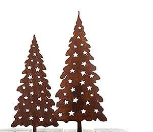"""'saremo 1x Árbol de Navidad """"Jul en barra 80cm Jardín Conector oxidado (Acero Inoxidable óxido"""