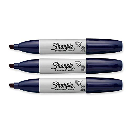 Sharpie Permanent Marker, Chisel Tip, Navy Blue, 3-Count
