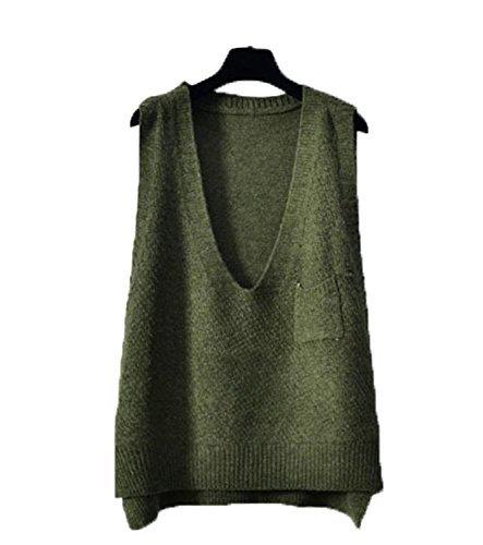 ミシン絶縁する週間topmodelssレディース ゆったり 無地 ニット ベスト カジュアル ファッション Vネック シンプル ニット ベスト
