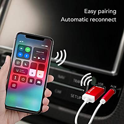 TUNAI Firefly Bluetooth Receiver: World's Smallest USB Wireless Audio Bluetooth 4.2 Adapter with 3.5mm AUX for Car/Home Stereo Music Streaming; Auto On, No Charging Needed - Premium Pack (Black)