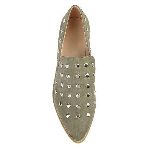 Journee Collectie Dames Spitse Teen Stud Flats Olijf, 12 Reguliere Us