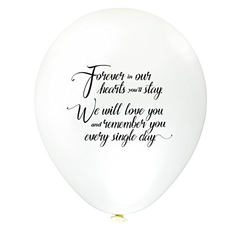 30pk White Remembrance Bereavement Memorial Funeral Biodegradable Helium Quality for Balloon Releases – Personalised