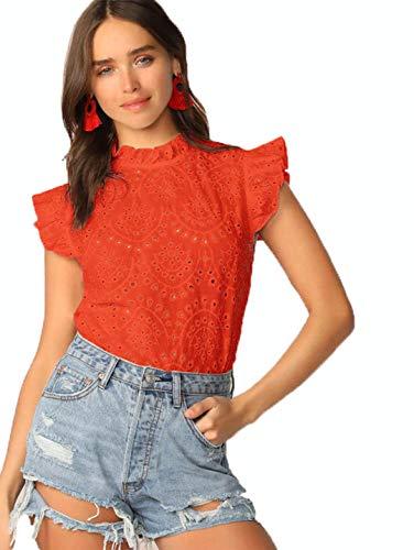 Romwe Women's Sleeveless Ruffle Stand Collar Embroidery Button Slim Cotton Blouse Top Orange XS