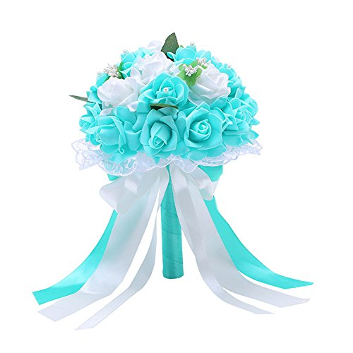 (856store Novelty Ribbon Bow Lace Faux Pearls Artificial Flower Bridal Bouquet Wedding Party Props - Tiffany Blue)