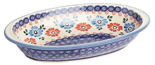 Boleslawiec Polish Pottery Polish Pottery Blue Red Floral Oval Vegetable Serving Dish Bowl, 11.25