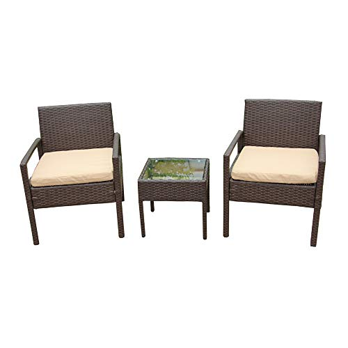 ALEKO RTF005BR Rattan Wicker Furniture 3-Piece Indoor Outdoor Bistro Coffee Table Set - Palm Wicker Springs