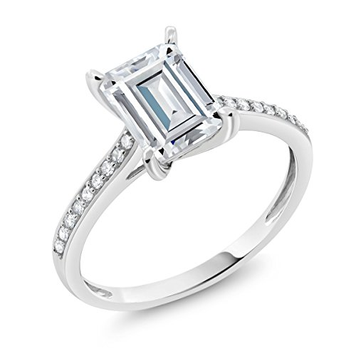 10K White Gold Solitaire w/Accent Stones Ring Timeless Brilliant Radiant (IJK) 1.60ct (DEW) Created Moissanite and (Radiant Solitaire Ring)