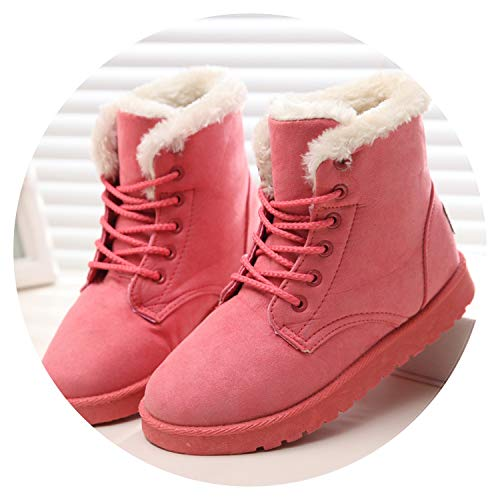 - Winter Super Warm Snow Boots Women Suede Ankle Boots Plush Booties Shoes Woman,66021 Pink,8.5
