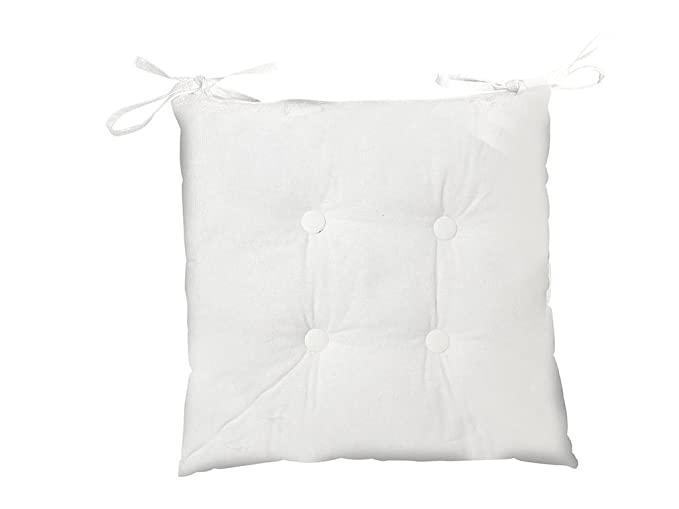 Soleil docre Cojín para Silla capitoné de algodón POEME Blanco