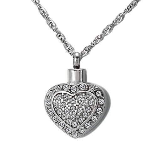 ZARABE Cremation Jewelry White Diamond Double Heart Memorial Ash Keepsake Necklace Urn Pendant]()