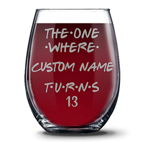 Personalized 13th Birthday 21 oz Stemless Glasses for Boys and Girls, Happy Thirteen Birthday Gift, 13 Years Birthday Wine Glass, 13th Birthday Party Decoration Gift Ideas For Her or Him -