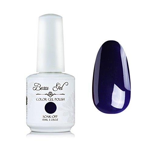 Beau Gel Soak Off UV LED Color Gel Polish Nail Art Manicure Lacquer 15ml Navy - Navy Opi Nail Gel Polish