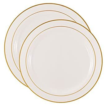 Party Joy 50-Piece Plastic Dinnerware Set | Gold Lines Collection | (25)  sc 1 st  Amazon.com & Amazon.com: Party Joy 50-Piece Plastic Dinnerware Set | Gold Lines ...