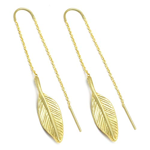 The V Collection Earrings 22k Gold Plated Long Leaf Chain Earrings Handmade Jewelry for Women and Girls ()
