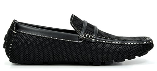 Bruno MARC MODA ITALY HUGH-05 Men's Casual On The Go Driving Fashion Loafers Double Stitched Boat Moccasins Shoes BLACK SIZE 9.5