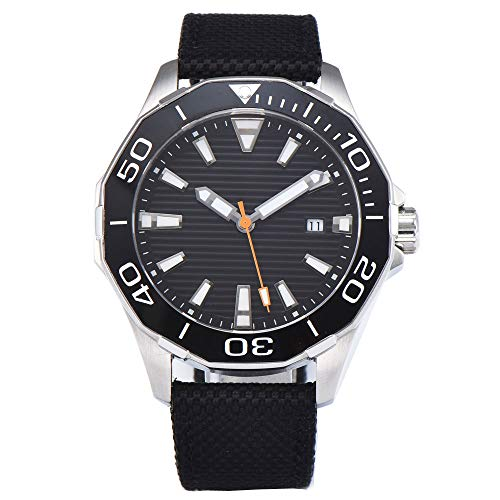 Sapphire Crystal 45mm Black Sterile Dial Automatic Movement Men's Watch Stainless Steel Case Luminous (Sterile Steel Stainless)