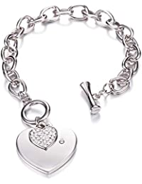 5f77e3e31 Heart Crystal Charm Bracelet for Women Girls - High Polished Trendy Love  Heart-Shaped Link
