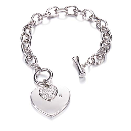 PJ Heart Crystal Charm Bracelet for Women Girls - High Polished Trendy Love Heart-Shaped Link Chain Charms Bracelets Jewelry, Toggle -