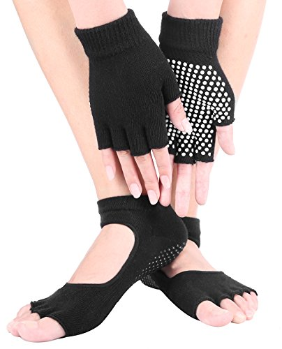 HAIVIDO Women Non-Slip Fingerless Yoga Glove and Sock Sets or Sock and Sock Sets with Grips for Pilates, Ballet,Exercise and Fitness Pack of 2 – DiZiSports Store