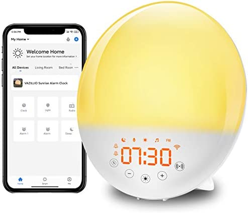 VAZILLIO Sunrise Alarm Clock, Smart Wake Up Light Work with Alexa, Sunset Simulation, Sleep Aid, Dual Alarms, Snooze, 7 Colors Nightlight, 8 Natural Sounds, Recorder, FM Radio, Gift for Kids & Adults