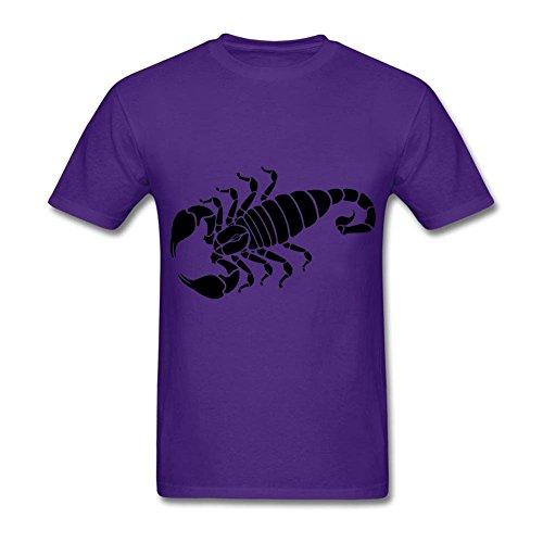 Scorpion T Shirts for Men Crew Neck Short Sleeve Cotton Purple XXL