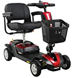 FOXTR 1 Portable Mobility Scooter with Ultra Suspension, 4 Wheel Travel Scooter, Red