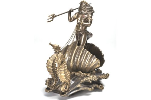 Pacific Giftware Bronze Poseidon On Seahorse Chariot Statue