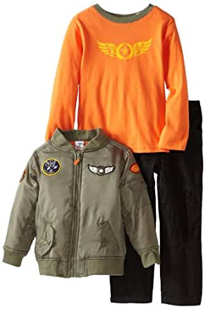 Boys Rock Little Boys' 3 Piece Jacket Set With Knit Top and Black Denim Pant, Orange, 2T