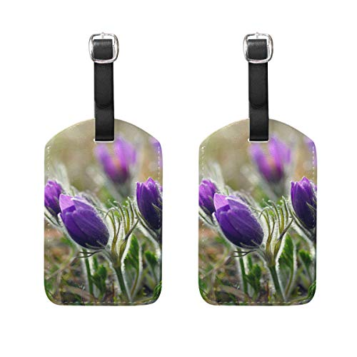 (Travel Luggage Tags,Lavender Purple Business Suitcase ID Labels,PU Leather Delicate Printing Bag Tag,Card Holder Set of 2 )