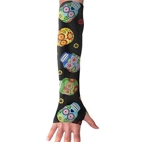 (Huadduo Cantina Skulls Black UV Protection,Compression & Cooling Arm Sleeves For Women)