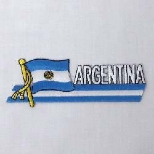 Argentina Sidekick Word Country Flag Iron on Patch Crest Badge .. 1.5 X 4.5 Inches ... ()
