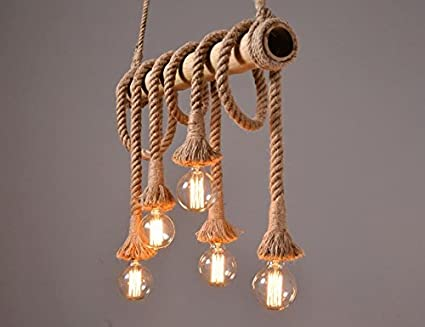 Kronleuchter Antik Vintage ~ Rustikal hanfseil bambus kronleuchter licht anhänger antik retro