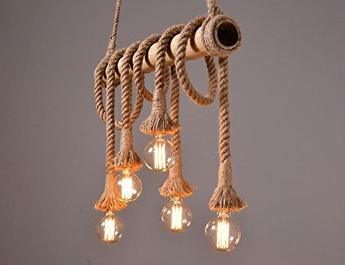 Lampadario Rustico Sospensione : Rustico corda di canapa bambù lampadario luce pendente antico