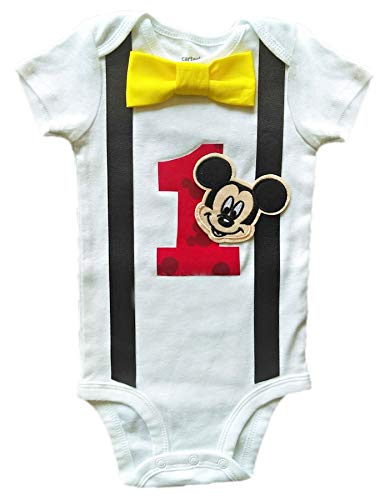 Baby Boys 1st Birthday Outfit Mickey Mouse - Bodysuit Argyle