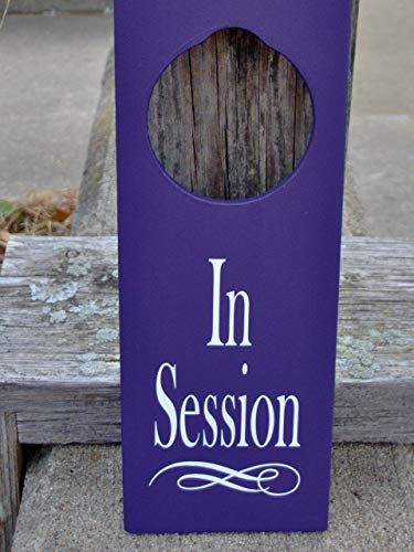 MarthaFox in Session Sign Wood Vinyl Door Knob Hanger Purple Business New Office Supply Massage Therapy Yoga Personal Sign Unique Gift Private Meeting