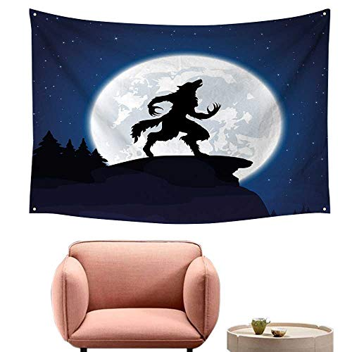 Agoza Wall Tapestry Wolf Full Moon Night Sky Growling Werewolf Mythical Creature in Woods Halloween Wall Tapestry for Bedroom 84