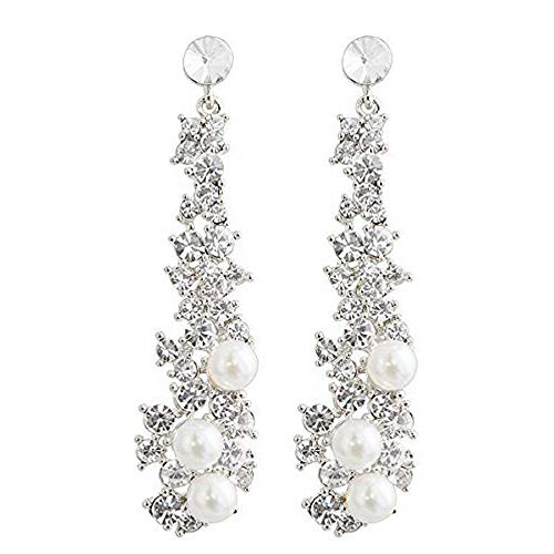 Waterfall Earrings-CIShop UltraSparkling Long Pearl earrings with Simulated Diamonds-Supper Beauty Silver Tone (Pearl Silver Tone) ()