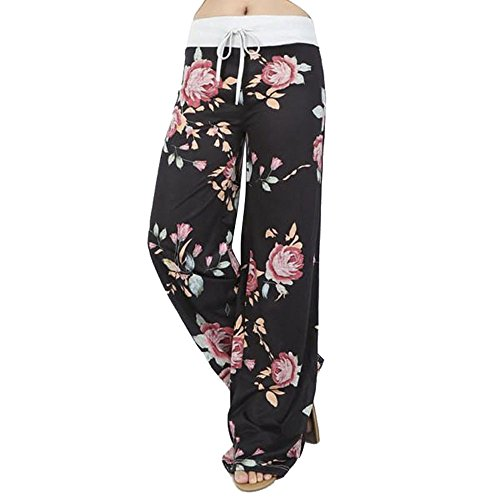 Assivia Womens Wide Leg High Waist Yoga Pants Casual Printed Drawstring Trousers (XXXL, Black)