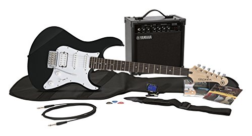 Yamaha Gigmaker EG Electric Guitar Pack with Amplifier, Gig Bag, Tremolo Bar, Tuner, Instructional DVD, Cable, Strap, Strings, and Picks – Black