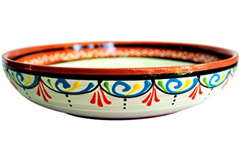 Terracotta White Serving Dish - Hand Painted From Spain by Cactus Canyon Ceramics