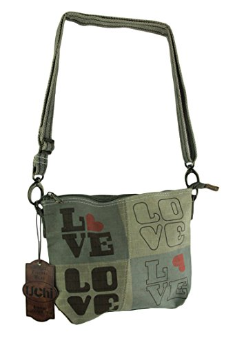(Vintage Recycled Tent Crossbody Shoulder Bag with Love Print)