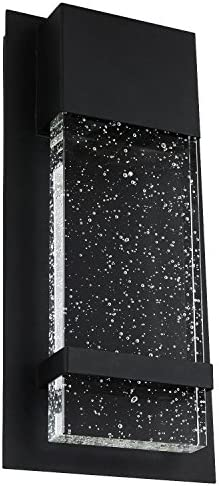 Sunlite 81170-SU LED Wall Sconce with Rain Glass Panel, 13.75 Tall, 6.5 Wide, 14 Watts, Indoor Outdoor, Black Finish, ADA Compliant, 13.75-Inch 6.5-Inch, 30K – Warm White