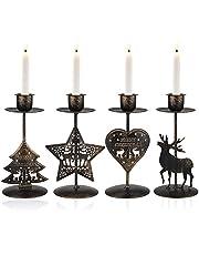 Gukasxi Lighted Christmas Table Decorations,4 Pieces Metal Pillar Candle Holders Christmas Candle Holders Centerpiece Candlestick Holders Decorative Pillar Candles Holder Display