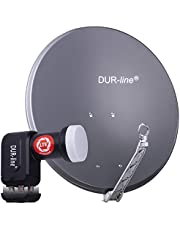DUR-line Set van 4 deelnemers - kwaliteit aluminium satellieten - Select 75/80cm spiegel/kom antraciet + Quad LNB - voor 4 ontvangers/TV [nieuwste technologie, DVB-S2, 4K, 3D]